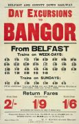 lrish Railway Timetable Poster, Day Excursions to Bangor From Belfast, Northern Ireland